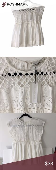 Zara cream too Zara cream top. Brand new with tags. Bohemian, empire waist cut.  Beautiful cut out detail on upper portion. No lining. Zara Tops Blouses