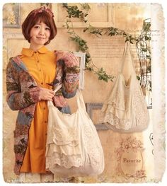 Sweet Japanese Lolita Vintage Mori Gril Lace Cute Woman Handbag Satchel#5-MT63