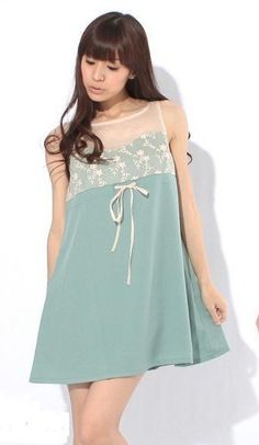 Fashionable Embroidery Lace Splicing Dress Blue