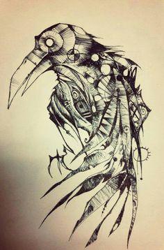 Идеи для эскизов татуировки: ворон #2 тату, ворон, эскиз, длиннопост, ворона, арт