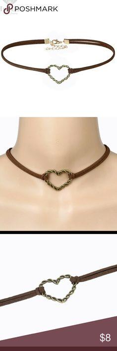heart shape choker Bronze metal heart Jewelry Necklaces