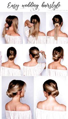 Simple Wedding Hairstyles, Fancy Hairstyles, Hairstyle Wedding, Hair Wedding, Hair Design For Wedding, Donut Bun Hairstyles, Easy Updos For Long Hair, Belle Hairstyle, Fascinator Hairstyles