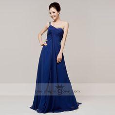 2017 Dinner Formal Dress The Bride Married Long Design Blue One Shoulder High Waist Evening Clothes