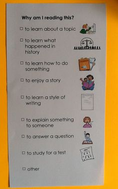 Tips for ELLs to choose a purpose for reading before they read.