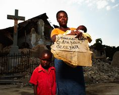 """Jeremy Cowart - Voices of Haiti                   """"Give us this day, our daily bread."""" On a side note, this is one of three crosses I saw still standing. All three churches had been completely destroyed but the crosses stood unrattled."""