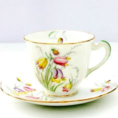 Vintage 1930s Chapmans Longton Standard China Deco Floral Tea Cup Saucer Duo | eBay