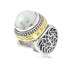 KONSTANTINO STERLING SILVER, 18K YELLOW GOLD AND LARGE MABE PEARL RING WITH GREEK WRITING (I LOVE YOU WITH ALL MY HEART) FROM THE PEARL COLLECTION - www.mulloysjewelry.com