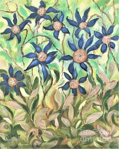 Wild Flowers in Blue and Gold by Caroline Street. #wildflower #flowers #blue and Gold #flower bed #grow