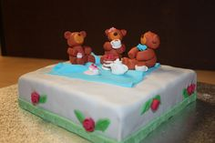 Teddy Bears tea party picnic cake - Made of choc mud cake