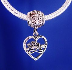 Daughter Dangle Heart European Charm Bead Silver by rbargains, $9.95