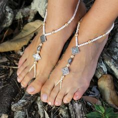 Silver Beaded barefoot sandal with gorgeous silver by ForeverSoles