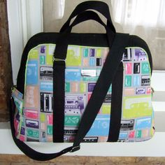Oversized Handbag / Overnight Carry-on Bag / 1980s Retro Cassette Tapes / Swoon Patterns Vivian by SurLeFeu on Etsy https://www.etsy.com/listing/238258419/oversized-handbag-overnight-carry-on-bag