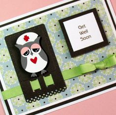 Get Well Card,  Handmade Greeting Card, Thinking of You Card, Nurse Owl Card, Handmade Greeting Card. $4.50, via Etsy.