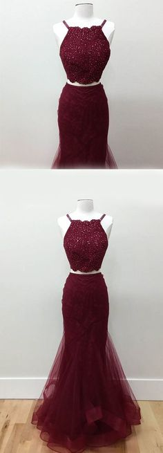 Burgundy Mermaid Lace Square Sweep Train Two Piece Beading Prom Dress prom,prom dresses,prom dress,2017 prom dress,fashion,fashions