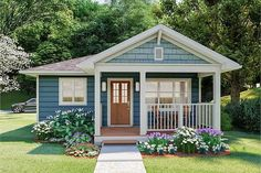Find your bungalow house plan today with Family Home Plans. Our reliable and affordable collection offers the best-selling Bungalow home designs. Small Cottage House Plans, Small Cottage Homes, Small Cottages, Small House Plans, Guest House Plans, Tiny Homes, Small Country Homes, Backyard Cottage, One Bedroom House Plans