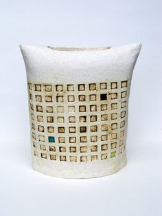 Mary Lou | Hand-built stoneware architectural envelope vase.