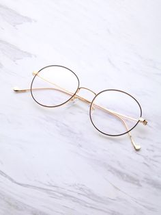 Shop Black And Gold Frame Round Glasses online. SheIn offers Black And Gold Fram. - Shop Black And Gold Frame Round Glasses online. SheIn offers Black And Gold Frame Round Glasses & m - Big Round Glasses, Fake Glasses, Cool Glasses, New Glasses, Glasses Online, Glasses Shop, Glasses Frames Trendy, Circle Glasses Frames, Glasses Trends