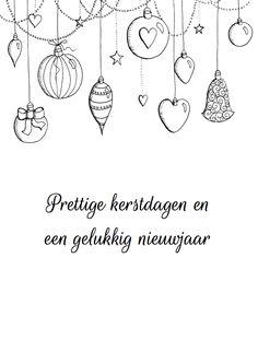 Kerstkaart kerstballen zwart-wit, verkrijgbaar bij #kaartje2go voor €0,99