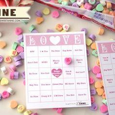 Valentine Bingo with conversation hearts.