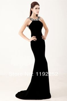 2014 new style custom made black sexy meimaid plus size prom dress with beading,chiffon for wedding,prom,party,brides,homecoming $153.00