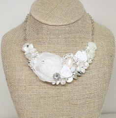 White bridal necklace-White Floral Bridal by BrassBoheme on Etsy