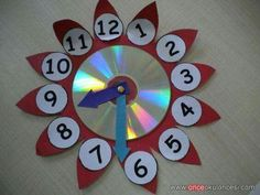 Here are the best 9 clock craft images and ideas for kids and adults. Clock crafts help the kids to learn about time and the importance of time. Cd Crafts, Diy Arts And Crafts, Easy Crafts For Kids, Paper Crafts, Clock Craft, Diy Clock, Kindergarten Crafts, Preschool Crafts, Clock For Kids