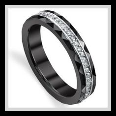 Shop for Black Ceramic and Sterling Silver Eternity Cubic Zirconia Ring mm). Get free delivery On EVERYTHING* Overstock - Your Online Jewelry Destination! Cubic Zirconia Rings, Ceramic Jewelry, Eternity Ring, Diamond Engagement Rings, Diamond Rings, Wedding Ring Bands, Ring Designs, Fashion Rings, Sterling Silver Rings