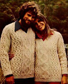 DIY Aran Cable Knit Pullovers PDF Vintage Knitting Pattern