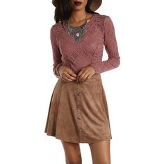 Charlotte Russe Mauve Long Sleeve Lace Crop Top by Charlotte Russe at... ($20) ❤ liked on Polyvore