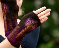 Nuno Felted Merino Wool Cuffs - Arm warmers - Dark Flower Gloves. $49.00, via Etsy.