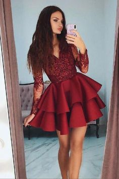 Burgundy v neck lace short prom dress Burgundy Prom Dress, V Neck Prom Dress, V-neck Prom Dress, Prom Dresses, Lace Prom Dress Homecoming Dresses 2019 Party Dresses With Sleeves, V Neck Prom Dresses, Sexy Dresses, Cute Dresses, Fashion Dresses, Dress Prom, Elegant Dresses, Summer Dresses, Wedding Dresses