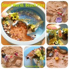 Small World: Beach Play - using a water table, sand and Playmobil figures (and a few other bits and bobs) Fun Activities For Kids, Craft Activities, Crafts For Kids, Beach Play, Sand Play, Ocean Themes, Beach Themes, Toddler Sensory Bins, Under The Sea Theme