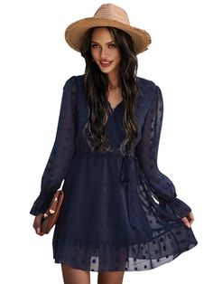 Style : Casual Fabric : Polyester Season : Spring, Summer Color : Dark Navy, Ecru White, Black The post V Neck Long Sleeves Casual Fit Skater Dresses appeared first on TD Mercado. Bandeau Dress, Chiffon Maxi Dress, Maxi Dress With Sleeves, Casual Dress Outfits, Cute Fall Outfits, Short Dresses, Mini Dresses, Party Dresses, Fall Collection