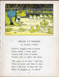 Frogs At School Print By Hugh Spencer Verse By George Cooper 1927 Illustration Amazing Frog, Frog Illustration, Funny Frogs, Frog Art, Kids Story Books, Frog And Toad, Cute Images, Nursery Rhymes