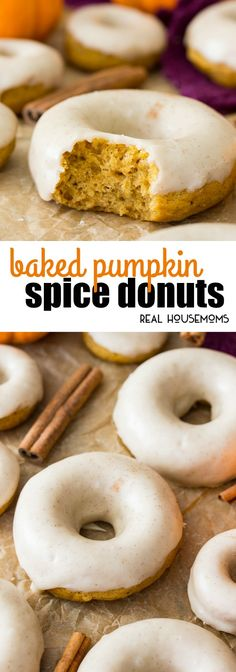 Soft & fluffy Pumpkin Spice Donuts covered in a buttery, spiced glaze frosting! … Soft & fluffy Pumpkin Spice Donuts covered in a buttery, spiced glaze frosting! These donuts are baked, not fried, for a slightly lighter breakfast treat! via Real Housemoms Baked Donut Recipes, Baked Doughnuts, Baked Pumpkin Spice Donut Recipe, Pumkin Donuts, Pumpkin Cake Donuts Recipe, Icing For Donuts Recipe, Cake Donut Recipe Baked, Fluffy Donut Recipe, Donuts Donuts