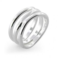 Florence Modern Wave Three-Row Sterling Silver Ring