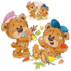 Vector Illustration of Two Brown Teddy Bears
