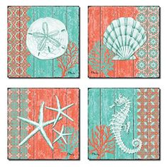 4 Lovely Teal and Coral Ocean Seashell Sand Dollar Seahorse Star Fish Collage Poster Prints; Four Poster Prints ~ Beach Home Decor ~ Olivia Decor - decor for your home and office. Beach Cottage Style, Beach House Decor, Coastal Style, Coastal Wall Art, Coastal Decor, Rustic Decor, Coastal Nursery, Coastal Colors, Coastal Furniture