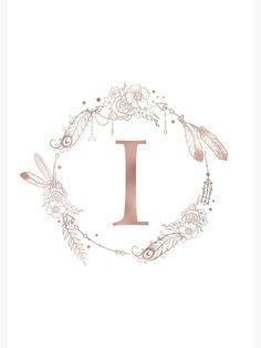 """Letter I Rose Gold Pink Initial Monogram"" Spiral Notebook by naturemagick Monogram Wallpaper, Alphabet Wallpaper, Cute Emoji Wallpaper, Iphone Wallpaper, Letter E Art, Alphabet Art, Monogram Stickers, Monogram Initials, Back Hand Mehndi Designs"