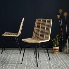 Lot de 2 chaises en rotin et pieds métal BOIS DESSUS BOIS DESSOUS - Chaise