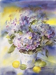 Hydrangea Blue by Connie Towns Burr in the FASO Daily Art Show