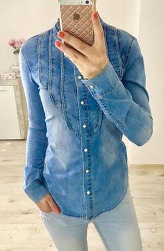 Štýlová rifľová košeľa so stojačikom Denim, Jackets, Tops, Women, Fashion, Down Jackets, Moda, Fashion Styles, Fashion Illustrations