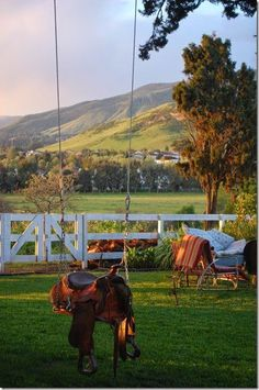 I want this saddle swing in my backyard one day♥
