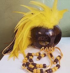 Large Makini Warrior Helmet, Yellow and Brown Feathers