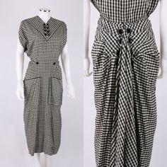 VTG-1940s-JACQUES-FATH-BLACK-WHITE-GINGHAM-FAN-BACK-PEPLUM-AFTERNOON-DRESS