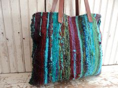 RAG RUG BAG / TOTE - Rag rugs are hand woven on a loom from pieces of recycled cotton. This bag has beautiful bright colors that have been over-dyed