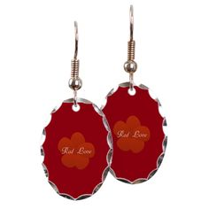 Bright Red Flower Earrings