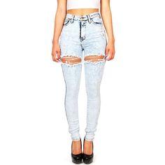 Side Swipe High Waist Skinnys ($30) ❤ liked on Polyvore featuring pants