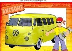 Skate boarding dude with yellow camper van A4 on Craftsuprint - Add To Basket!