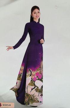 Vietnam Ao Dai Shop, 3D Fabric, Dark Purple Floral, Chiffon Dress, Silk Pant. #Handmade #Casual